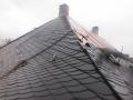 Naturschiefereindeckung mit deutschem Naturschiefer auf einem  denkmalgeschützten Gebäude in Hamm in einer Schuppenschablonendeckung im Format 32x28cm