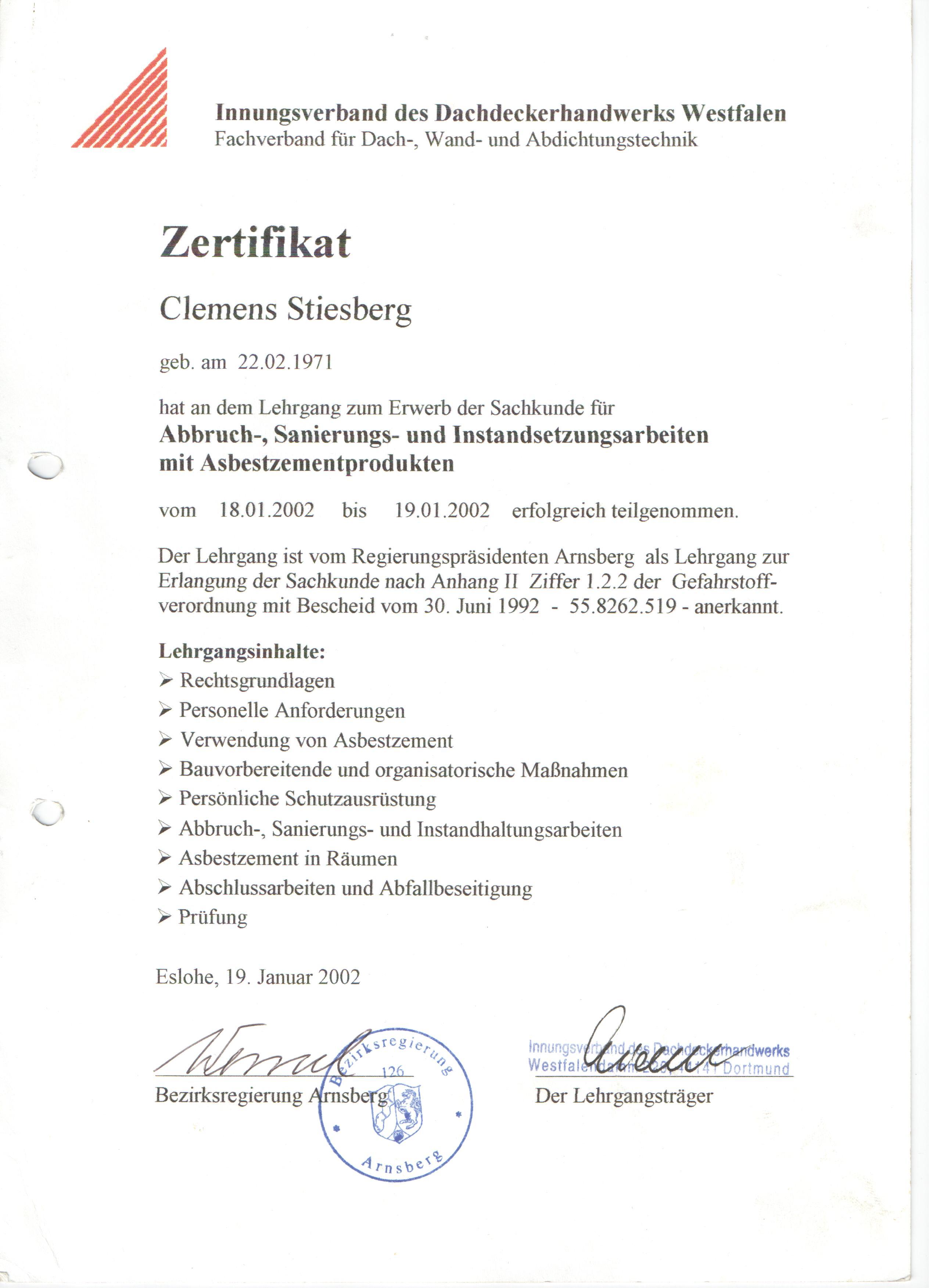 Asbestsanierung - Dachdecker, Schieferdecker, Bedachungen, Fassaden ...